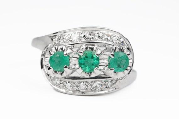 0.76tcw Vintage Colombian Emerald Diamond Ring, Vi