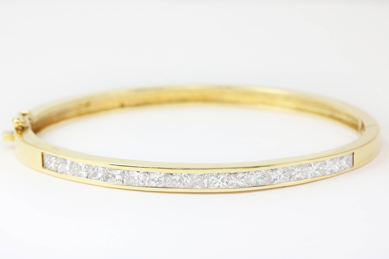 3 50tcw Diamond Bangle Bracelet 18k Princess Cut Diamond
