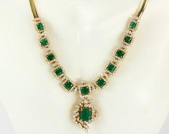 Natural Colombian Emerald Set, Emerald Bracelet, Emerald Necklace, Diamond Necklace & Bracelet, 18K Yellow Gold Jewelry Emerald Suite