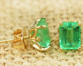 1.60 Carat Emerald Cut Colombian Emerald Stud Earrings, Yellow Gold Emerald Studs, White Gold Emerald Studs, Columbian Emerald Earrings