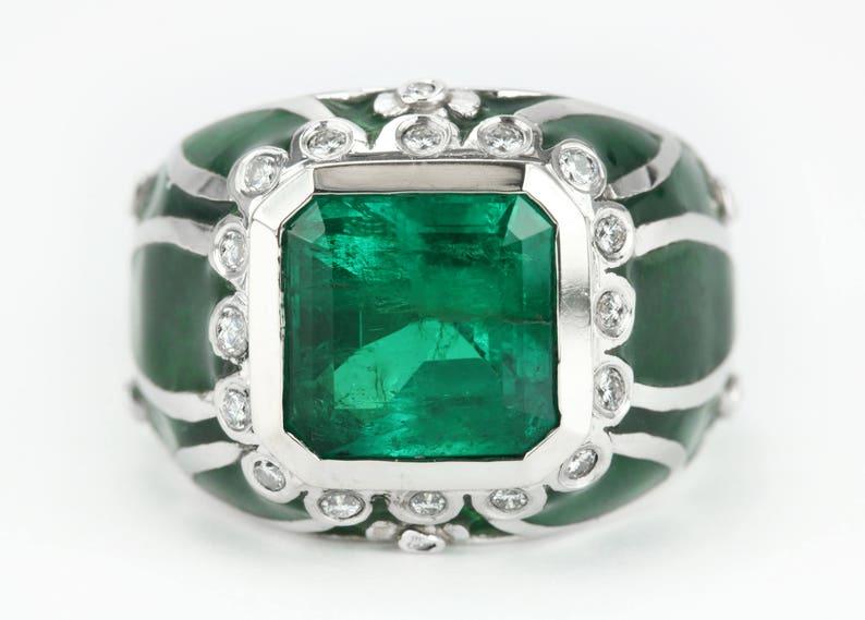 231fee0fe 5.29tcw Colombian emerald & diamond enamel men's ring 18k | Etsy