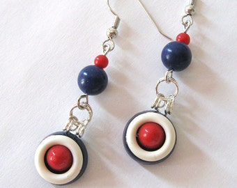 Red White & Blue Repurposed Vintage Art Deco Button Earrings, Nautical Dangles, Patriotic Earrings, Nickel Free Hooks