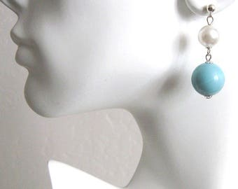 Upcycled Vintage Bead Earrings, 1950s Aqua Blue, White Pearl, MidCentury Beads, Earwire Options Available