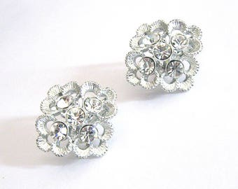 Sarah Coventry Clear Rhinestone Earrings, Lacy Flower, Rhodium Silver Clip On, Party or Wedding