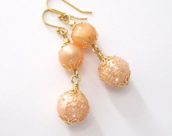 Peach Bead Earrings, Vintage Lucite MoonGlow and Sugar Beads, Upcycled Eco Friendly Dangle Earrings, Ear Wire Options