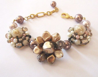 Upcycled Cluster Earrings Bracelet, Neutral Cafe au Lait, Repurposed Vintage  Pearls and Earrings, Eco Friendly Bracelet