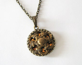 Upcycled Vintage Button Necklace, Twinkle Button, Brass Over Copper Chain Link Design, Filigree Setting