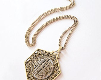 Sarah Coventry Tea House Pendant Necklace, Antique Gold Tone, Long Chain