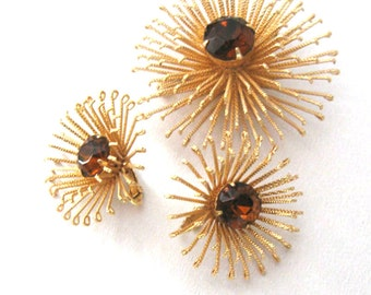 Vintage Sarah Coventry Brooch Earrings Set, Golden Mum, Sunburst, Mid Century Jewelry Set
