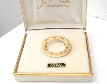 Goldfilled Engraved Oval Brooch, Signed LaMode in Original Box, Mid Century Jewelry Gift for Women