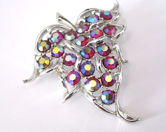Red Rhinestone Leaf Brooch, Convertible to Pendant, Signed Sarah Cov, Dazzling Aurora