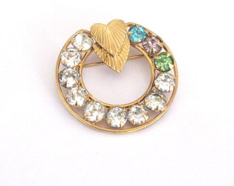 Rhinestone Circle Brooch, Double Hearts, Goldfilled Brooch Mothers Pin Grandmothers Pin, Mothers Day, Valentines Day
