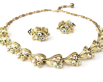1950s Lisner Demi Parure, Necklace and Earring Set, Aurora Borealis & Jonquil Yellow Rhinestones, Mid Century Jewelry