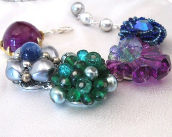 Jewel Tones Bracelet, Upcycled Vintage Cluster Bead Earrings, One of a Kind Bracelet