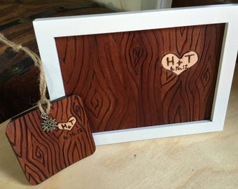 3rd Anniversary Gift - Third Anniversary - 3rd Anniversary Art - Leather Anniversary - Leather Art - Faux Bois Wood Grain Custom Initials