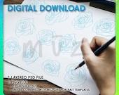 Dozen Roses Drawing Template For Clip Studio Paint, Procreate Photoshop INSTANT DIGITAL DOWNLOAD