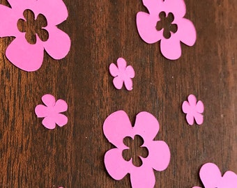 Pink flower scatter, pink flower cutouts, table scatter, pink confetti