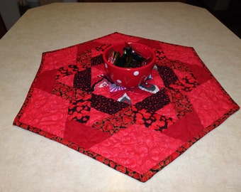 Quilted Table Topper Runner  Crimson Valentine  Hearts Modern Hexagon Star Quilted  Patchwork Table Topper or Table Runner
