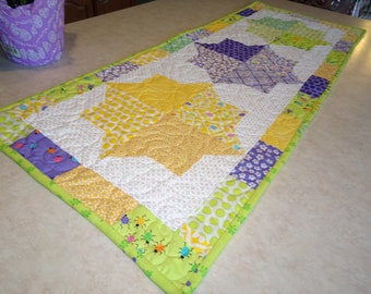 Spring Quilted Table Runner Frolic Mosaic Quilted  Patchwork Table Runner