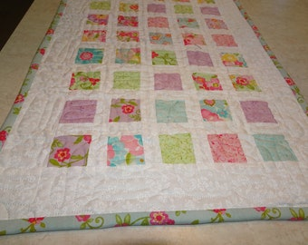 """Quilted  Patchwork Table Runner Pastel Floral Little Squares and White  """"Colette""""  Modern Table Runner"""