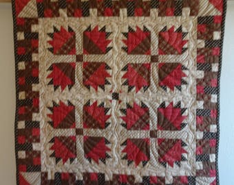 Wall Quilt  or Quilted  Patchwork Table Topper  Raspberry and Brown Civil War Reproduction Prints