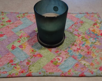 """Quilted  Patchwork Table Runner Table Topper Pastel Floral Zig Zags  """"Colette""""  Modern Table Runner"""