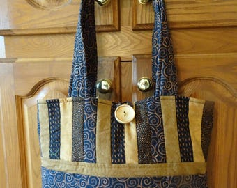 "Quilted Purse  Bag Tote  - Black, Bronze and Gold -  ""All About Anna"" Handmade Purse"
