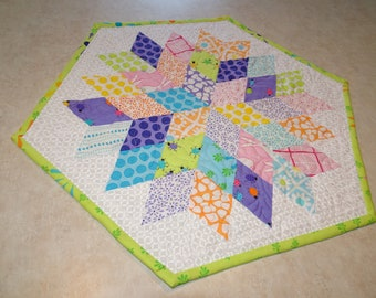 Spring Quilted table topper Frolic Diamond Star  Quilted  Patchwork Table Topper