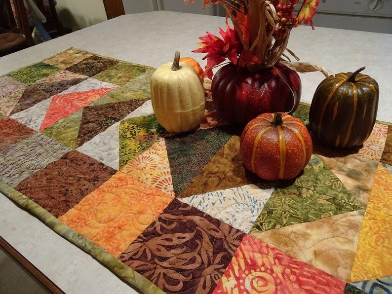 Quilted  Table Runner  Autumn Batik Flying Geese Handmade Patchwork Runner