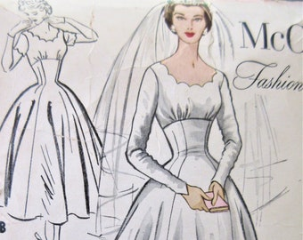 Vintage McCall's 9678 Sewing Pattern, 1950s Wedding Dress, SLEEVE MISSING, Evening Dress Pattern, Bridesmaid, Wedding Gown, Bust 32
