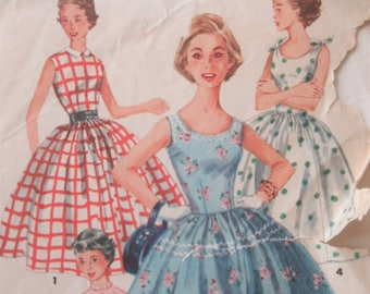 Vintage Simplicity 1213 Sewing Pattern, 1950s Dress Pattern, Very Full Skirt, Bust 34, Neckline Variations, 1950s Sewing Pattern