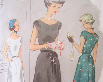 Vintage McCall's 7893 Sewing Pattern, 1940s Dress Pattern, Bust 35, Junior Size, Full Skirt, Cap Sleeves Dress, 1940s Sewing Pattern