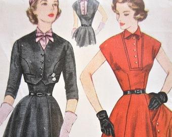 Vintage Simplicity 8421 Sewing Pattern, 1950s Dress Pattern, Bolero Pattern, Dress with Dickey, Bust 34, 1950s Sewing Pattern