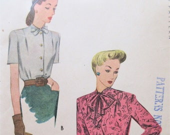 Vintage McCall 8336 Sewing Pattern 1950s Blouse Pattern Camp