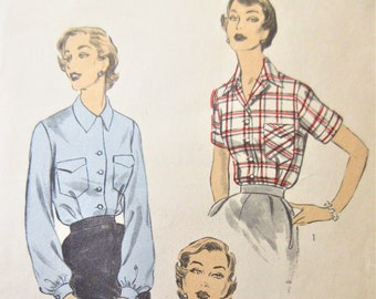 Vintage Advance 6426 Sewing Pattern, 1950s Blouse Pattern, Top Pattern, Button Front Blouse, Bust 32, 1950s Sewing Pattern, Sleeve Variation