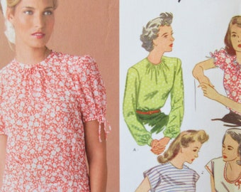 Simplicity 1692 Sewing Pattern, 1940s Blouse Reissue, Bust 36 to 44, Forties Style Tops Pattern, 2013 Sewing Pattern