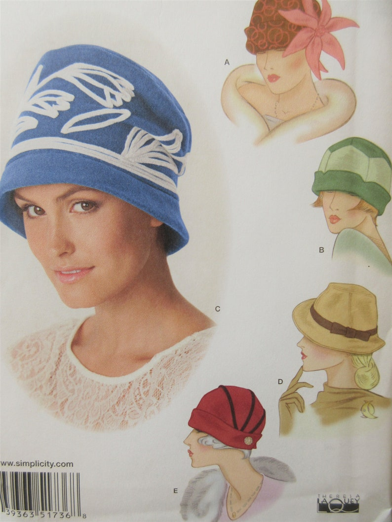 636b26fde0022 Vintage Hat Styles Pattern Modern Simplicity 1736 Sewing