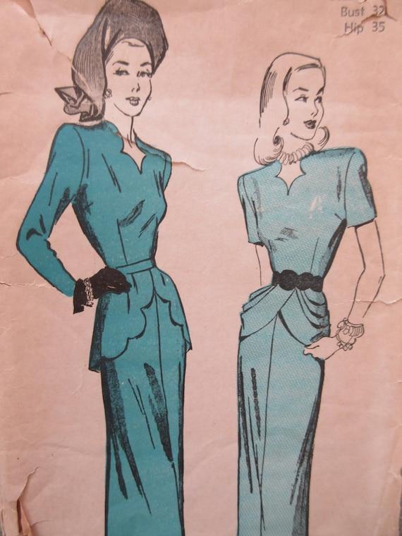Jahrgang vorab 4743 Schnittmuster Peplum Kleid 1940er Jahre | Etsy