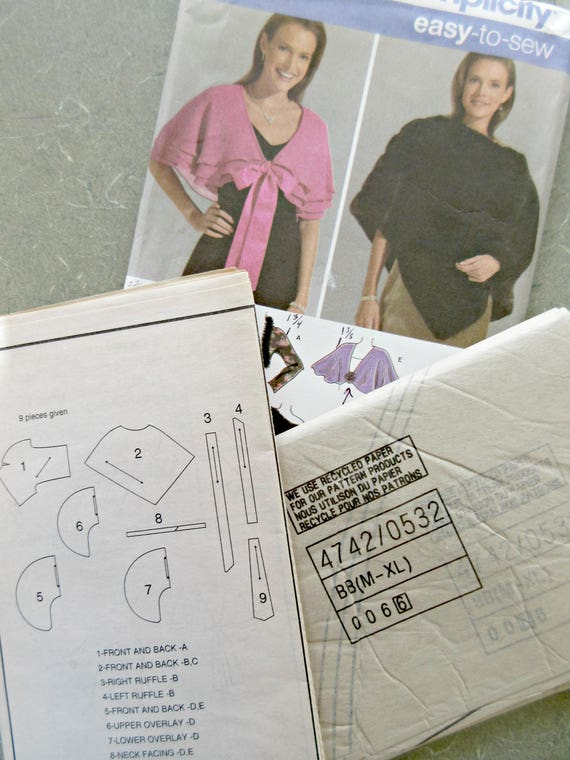 Simplicity 4742 Sewing Pattern Shawl Pattern Capelet And Etsy