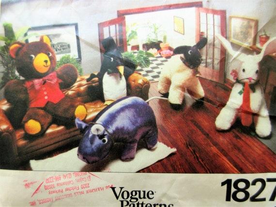 Vintage Vogue 1827 Schnittmuster ausgestopfte Tiere Muster | Etsy