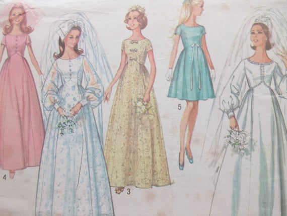 Vintage Simplicity 8640 Sewing Pattern 1960s Wedding Dress | Etsy