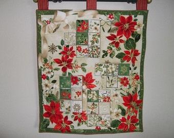 Christmas Advent Calendar - Poinsettias and Gold
