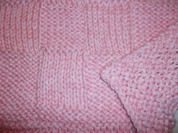 Hugs To Go Checkerboard Knitted Baby Afghan Blanket Pink And Etsy
