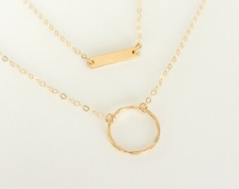 Layered Bar Set, Circle Bar Necklace Set of 2, Tiny Bar Necklace, Dainty Gold Necklace Set, Multi Strand Necklace, Delicate Jewelry