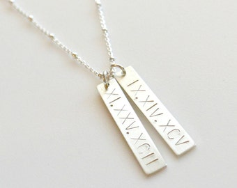 Silver Roman Numeral Bar Necklace, Custom Date Necklace, Sterling Silver Personalized Vertical Bar Necklace, Mother of the Bride Necklace