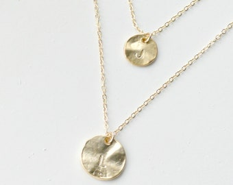 Disc Necklace GOLD, Two Initials Discs,  Layered Long Necklace, Family Necklace, Personalized Necklace, Initial Personalized Jewelry