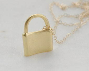 Padlock Necklace, Gold Lock Necklace, Mini Padlock Jewelry, Gift for Her, Friendship Necklace, Lovers Necklace, Small Love Lock Charm