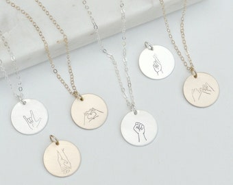 Hand Gesture Necklace, Sign Language ASL, Gift Ideas for Girls, Pinky Promise, I Love You, Heart Hands, BLM, Best Friends Necklace, Sisters