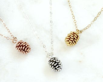 PineCone Necklace, Gold Silver or Rose Gold Necklace, Pine Cone Pendant, Autumn Jewelry, Fall Necklace, Gift For Her, Best Friends Gift