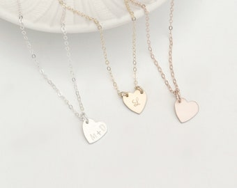 Galentine's Day Gift, Initial Heart Necklace, BFF Necklace, Silver, Gold, Rose Gold Necklace, Valentines Day Gift Idea, Personalized Heart